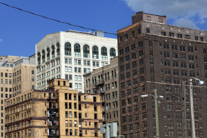 Abandoned buildings in downtown Detroit